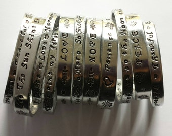 GRATITUDE Turns What I Have Into Enough ~ Hand Stamped Personalized Custom Name Initials Gotcha Day Quote hammered Aluminum Cuff Bracelet