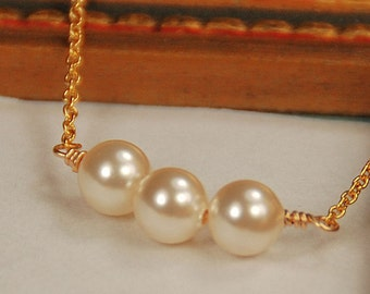 Gold Pearl Necklace, Tiny Bridal Necklace, Wedding Jewelry, Swarovski Pearl in 14K Gold Filled, Delicate Necklace - The Kristen Necklace