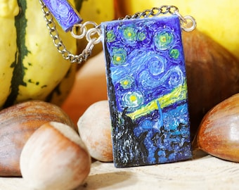 Fimo, blue, black, yellow, light blue, acrylic necklace. Starry Night. Vincent van Gogh.