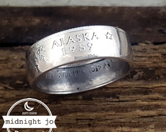 Alaska Coin Ring - 90% Silver Coin Ring - State Quarter Ring - Alaska Ring - Alaska Jewelry - State Coin Ring - Silver Wedding Rings