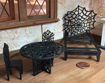 Choice of Half Scale Spider Web Bed, Spider Web Table and Chairs or a Laser Cut Pineapple Doormat for a Half Inch Scale Dollhouse