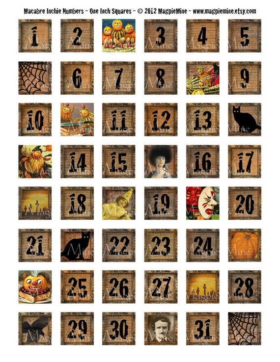 halloween numbers collage sheet creepy grungy one inch numbers 1 31 instant download printable - Halloween Numbers Printable