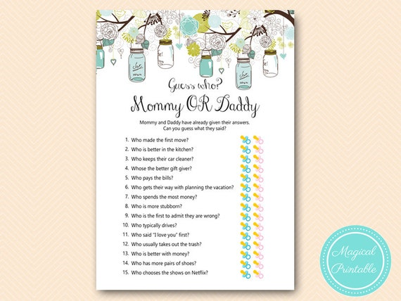 Mason Jars Mommy Or Daddy Game Guess Who Baby Shower Game