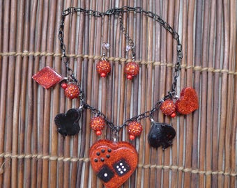 Rockabilly Necklace and Earrings Set , Red and Black, Casino, Lucky 13, Retro Resin Dice Cards Mid Century Pin Up Las Vegas Burlesque ....