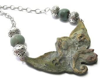 Raku Horse Necklace - Handmade Necklaces - Pegasus the Winged Horse