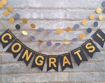 CONGRATS! - Glitter Banner for Graduation party, Wedding party, Bachelorette party, Wedding sign..