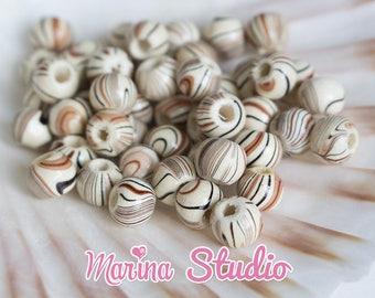 wooden Zebra effect 8x6.5mm 50 beads