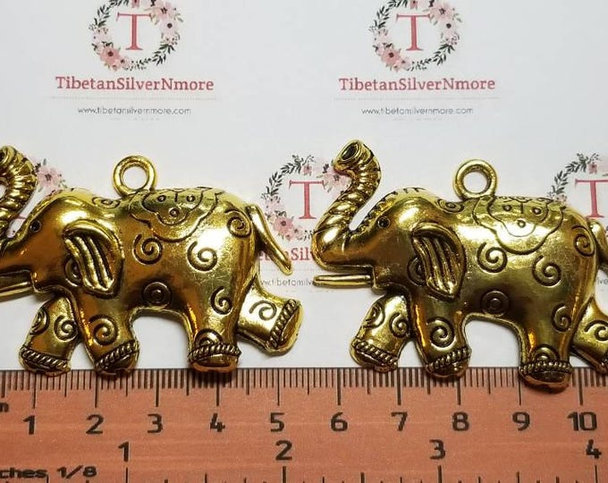 2 pcs per pack 56x36mm one side Pendant Antique Gold Finish Lead Free Pewter Large Elephant