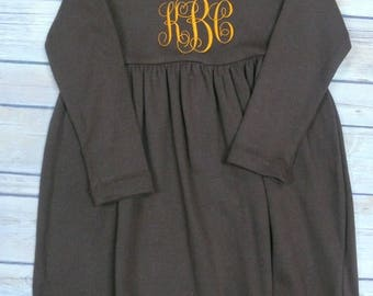 Boutique Quality Embroidered Long Sleeve Empire Waist Cotton Dress