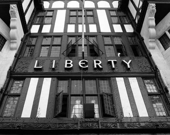 London Photography, British Decor, Liberty, English, Tudor, Black and White, Fine Art Print, Travel Photo, England, Home Decor, Wall Art