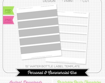 Water Bottle Label 1.5 inch Template - INSTANT DOWNLOAD - PRINTABLE - Make your own party printables