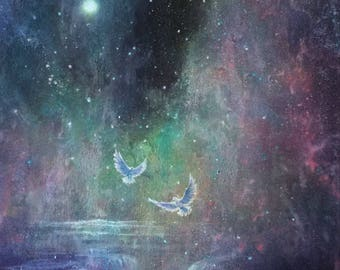 A Lost World - An Ethereal Moonlit Galaxy Waterfall - ORIGINAL Painting