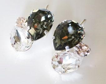 Gray Crystal Earrings, Gray Bridal Earrings Charcoal Jewelry, Black Diamond Swarovski Teardrop Earrings, Statement Earrings Wedding jewelry