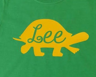 Toddler turtle shirt with name