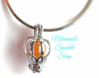 Sterling Crown Pearl Cage Pendant Crown Cage Pendant Princess Jewelry Graduation Pearl Necklace Jewelry, Pearl & Chain sold separately