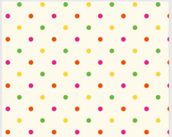 Carousel Lattice by  P and B,  Ivory Fabric with Pink, Green and Yellow Dots, Fabric by the Yard