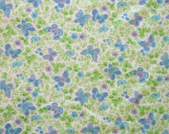 Vintage 60s Blue Lavender Lime Butterfly Cotton Blend Fabric 45x36