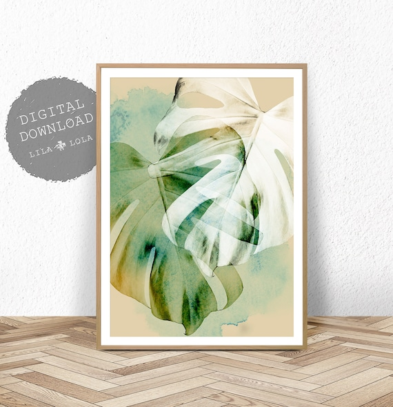 Leaf Print, Tropical Wall Art Decor, Monstera Plant, Botanical Watercolour Wall Art, Printable Digital Download, Large Poster, Contemporary
