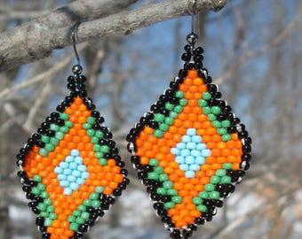 Orange Native American Earrings