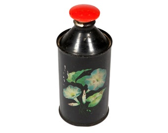 FREE SHIPPING: Rare Vintage Laundry Sprinkler Bottle - Folk Art Painted Metal Clothes Ironing Container with Red Jiffy Head