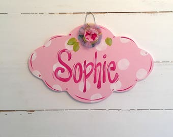 Personalized Sign for Girl's Room, Nursery Decor, Teacher Sign, Nursing Home Sign, Floral Decor Sign, Name Plaque, Girl Room, Whimsical Sign