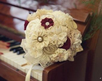 Burgundy bouquet, fabric bridal bouquet, lace bouquet, ivory wedding bouquet, wine bouquet, heirloom bouquet, red flowers bouquet