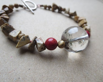 Gemstone Bracelet, Red Sponge Coral Bracelet, Quartz Beadwork Bracelet, Jasper Beaded Bracelet, Designer Gemstone Bracelet, K B Jewellery