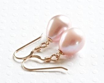 Pink Pearl Earrings, Real Pearl Earrings, Pearl Drop Earrings, Gold Dangle Earrings, Freshwater Pearl Earrings, Gold Filled Jewelry for Her