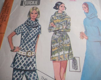 Vintage 1970 McCall's 2301 Sweater Dress with Pants Sewing Pattern Size 12 Bust 34