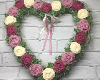Knitted rose heart wreath, anniversary , pink , cream roses ,door hanging, wedding wreath,Easter, anniversary, spring ,new home,condolence
