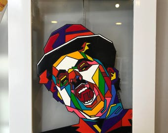 Charlie chaplin painting , glass art , painting on glass ,wall decoration