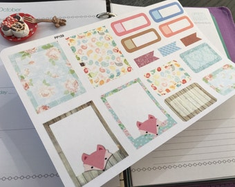 PP159 -- Set of 15pcs little Foxy Functional Box Life Planner Stickers ||Perfect 4 Erin Condren, Limelife, Plum Paper, Filofax Planners