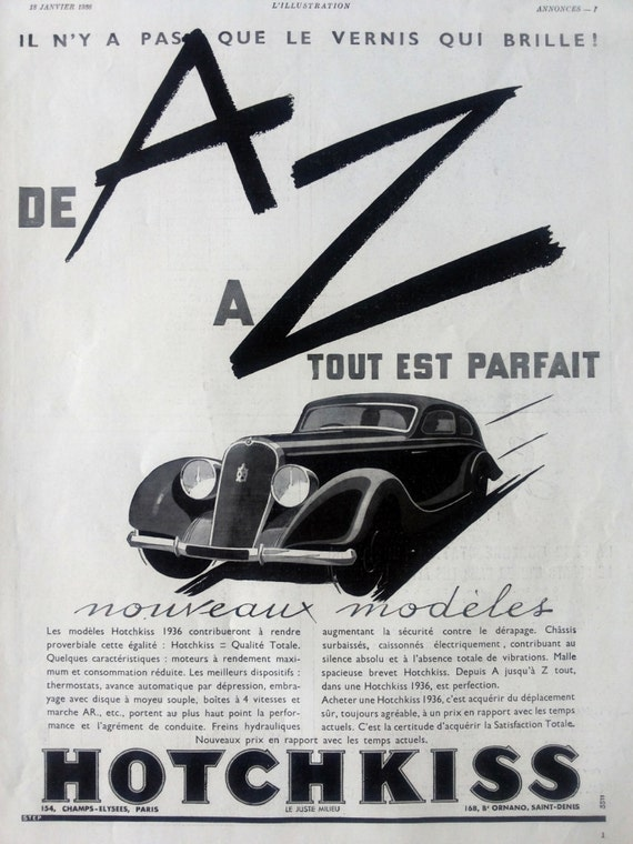 Hotchkiss vintage poster automobile poster black and white advertising vintage car ad original illustration print old french magazine ad