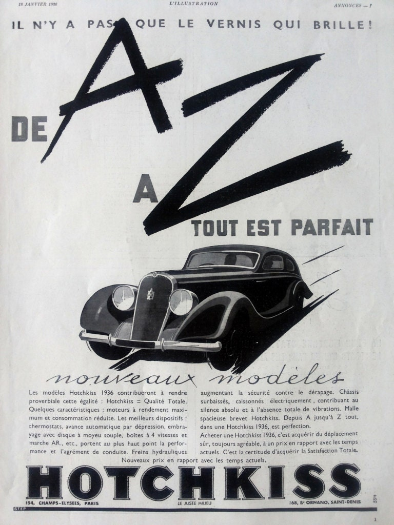 HOTCHKISS vintage poster automobile poster black and white