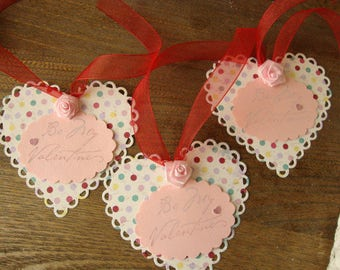 heart tags valentine's day gift tags Be my valentine pink and white valentine gifts paper hearts tags party favors gift wrap