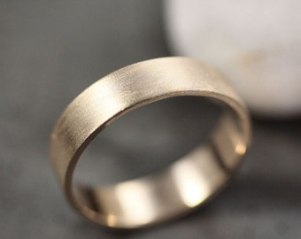 Men's Gold Wedding Band, Unisex 5mm Wide Brushed Flat 14k Recycled Yellow  Gold Wedding Ring