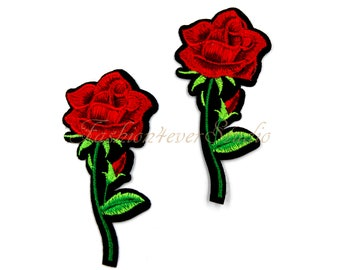 2ps Flower patch, Iron On Rose patch, Red Rose applique, Embroidered flower applique,  Embroider Rose  patches