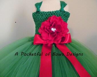 Emerald Green Flower Girl Dress, Emerald Toddler Flower Girl Dress, Green Tulle Ball Gown