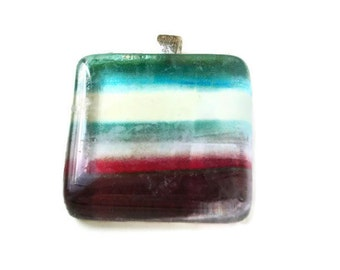 Abstract Square Glass Pendant with Heart Shaped Bail