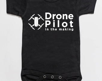 Drone pilot in the making baby bodysuit romper black