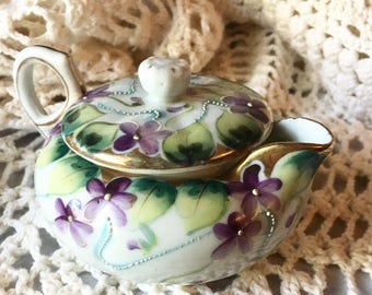 Vintage Moriage Purple Violets Teapot Japanese Tea Pot Small