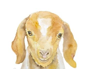 Nubian Goat Watercolor Painting - 8 x 10 - Giclee Fine Art Print - 8.5 x 11 - Farm Animals - Nursery Wall Art