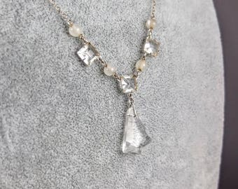 Vintage Crystal Necklace - 925 Silver Open Back Crystal Necklace, Art Deco Crystal Necklace, Vintage Silver Jewellery