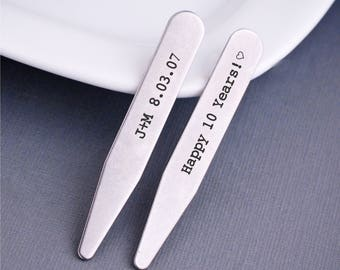 10th Anniversary Gift for Husband, Personalized Collar Stays, Engraved Gift for Husband, Stainless Steel Collar Stays Anniversary Date