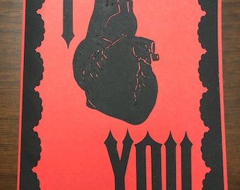 Horror Love Anatomical Black Heart, I Love You Card, for any occasion! Show your love!