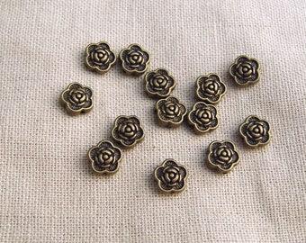 10 pearls 7mm metal bead flower bronze A22034