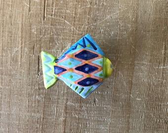 Ceramic Fish Knob, Fish Drawer Pull, Fish Handle, Nautical Knob, Kitchen Cabinet Knob, Colorful Fish Knob, Knob Pull Handle,Beach House Knob