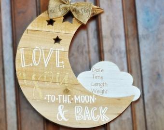Moon hospital door hanger for newborn announcement