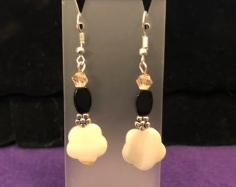 Black and white drop earrings.