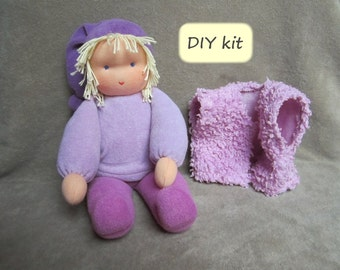 """DIY kit Waldorf doll 'Loetje': instructions with pattern (PDF) and materials for making Waldorf doll 'Loetje' 34 cm (13.5""""). Color purple"""